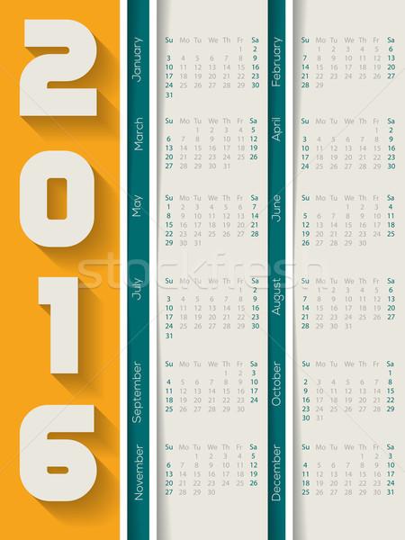 A rayas 2016 calendario oscuridad diseno resumen Foto stock © vipervxw