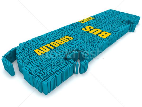3D csoport kék narancs szavak busz Stock fotó © vipervxw
