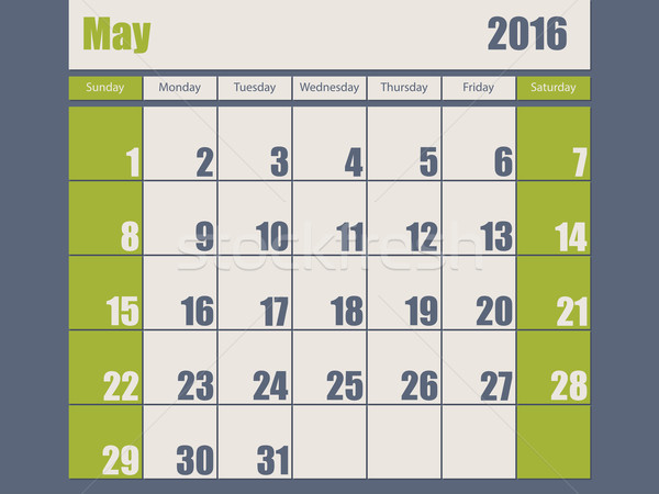 Stock photo: Blue green colored 2016 january calendar