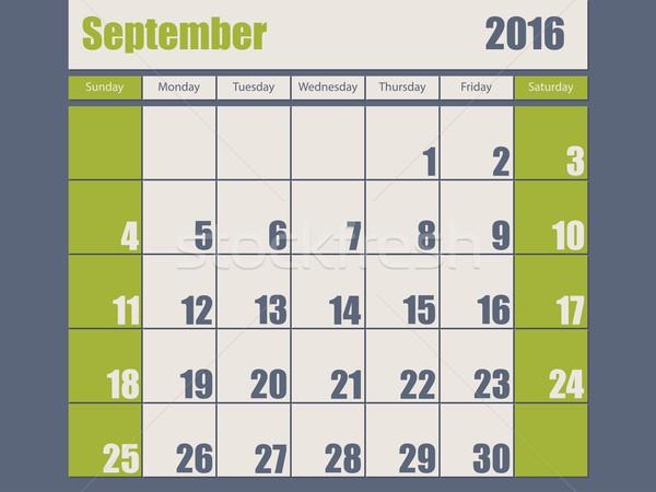 Blue green colored 2016 september calendar Stock photo © vipervxw