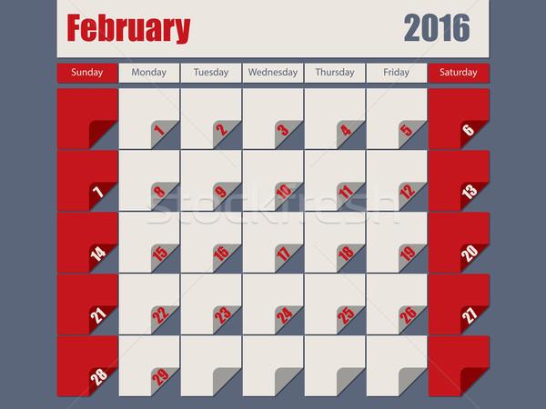 Gray Red colored 2016 february calendar Stock photo © vipervxw