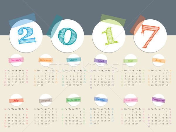 устрашающий цвета лента календаря дизайна белый Сток-фото © vipervxw