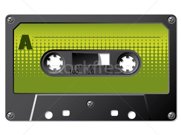Verde mezzitoni cassette vintage etichetta isolato Foto d'archivio © vipervxw