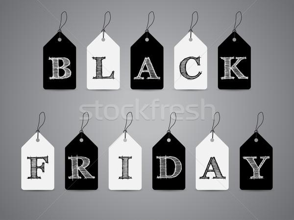 Blanc noir étiquettes black friday texte étiquette Photo stock © vipervxw