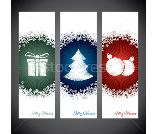 Christmas shopping label designs with symbols and snow Stock photo © vipervxw