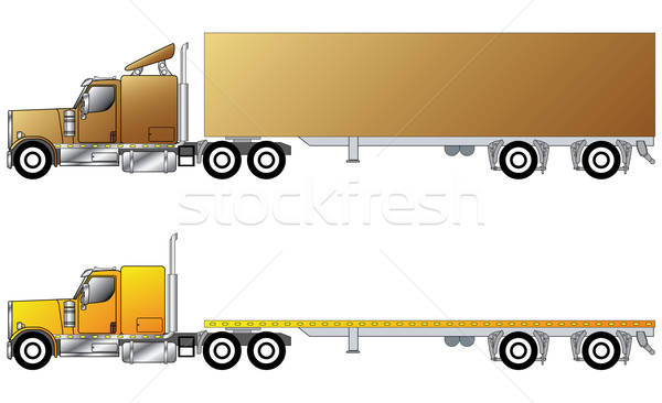 American conventional truck with trailer Stock photo © vipervxw