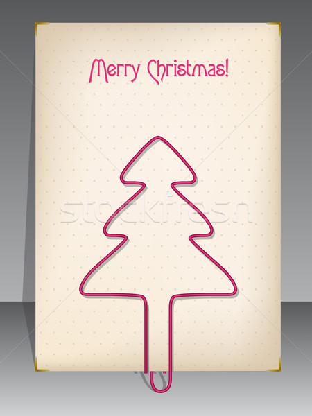 Christmas greeting with christmas tree shaped paper clip Stock photo © vipervxw