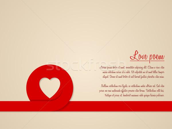 Sevgililer günü tebrik kartı kırmızı kalp şerit sevmek Stok fotoğraf © vipervxw