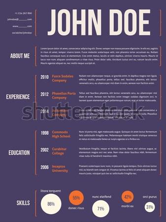 Simplistic cv resume template in dark blue Stock photo © vipervxw