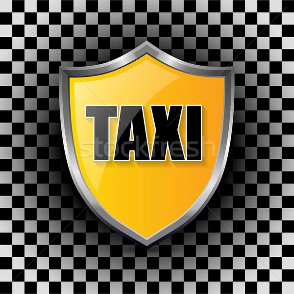 Metallic taxi shield shaped badge Stock photo © vipervxw