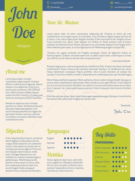 Moderne dekken brief cv groene Stockfoto © vipervxw