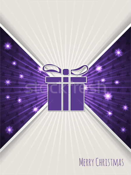 Christmas greeting with bursting purple christmas gift Stock photo © vipervxw