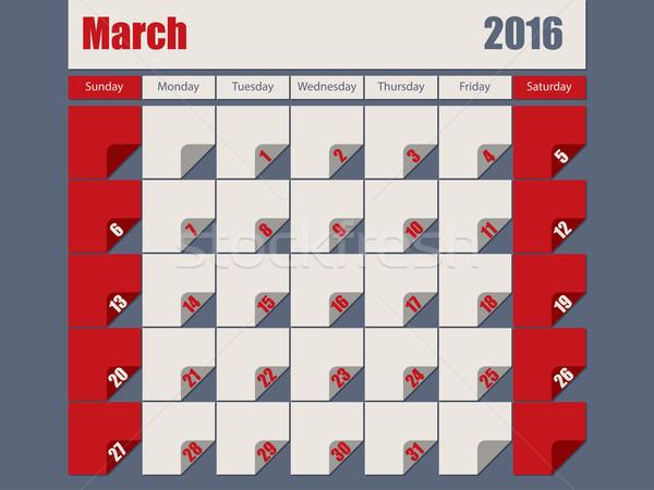 Gray Red colored 2016 march calendar Stock photo © vipervxw