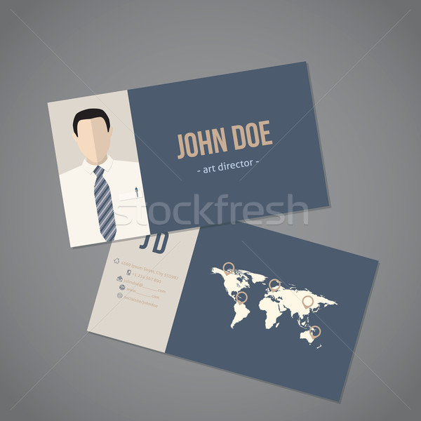Modern business card with world map Stock photo © vipervxw