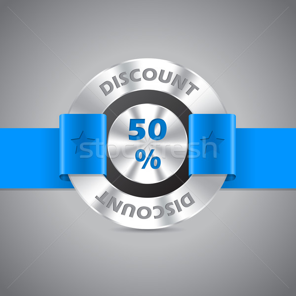 50 réduction vente métallique badge bleu Photo stock © vipervxw