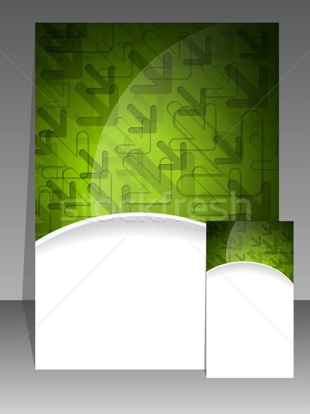 Yeşil Broşür Kartvizit Soyut Dizayn Arka Plan Vektör