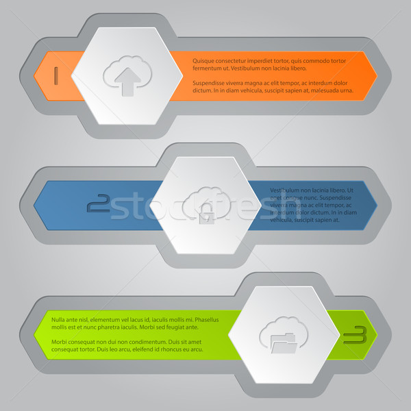 Infographics zeshoek communie wolk iconen ontwerp Stockfoto © vipervxw
