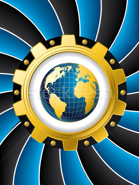 Blue twirl with cogwheel and map Stock photo © vipervxw