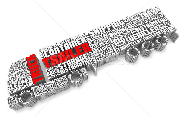 3d words shaping a truck with trailer aerial front view Stock photo © vipervxw