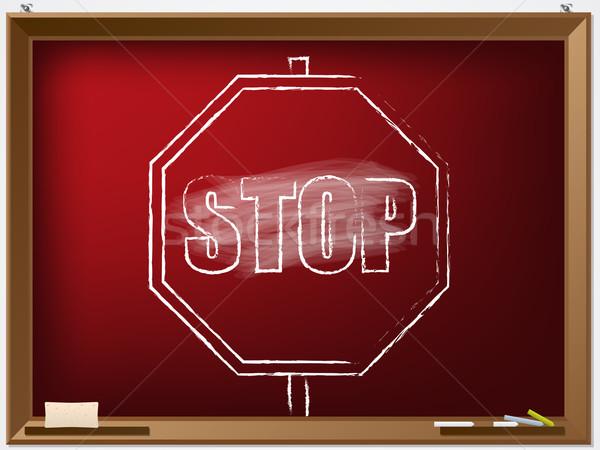 Dur işareti kara tahta Internet dizayn arka plan Stok fotoğraf © vipervxw