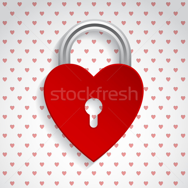 Valentine background with red heart padlock Stock photo © vipervxw
