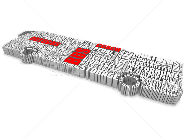 3d group of words shaping a passenger bus Stock photo © vipervxw
