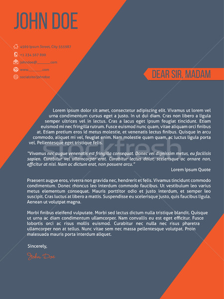 Cover letter resume cv template with orange stripes Stock photo © vipervxw
