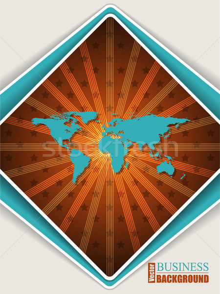 Abstract orange turquoise brochure with world map Stock photo © vipervxw