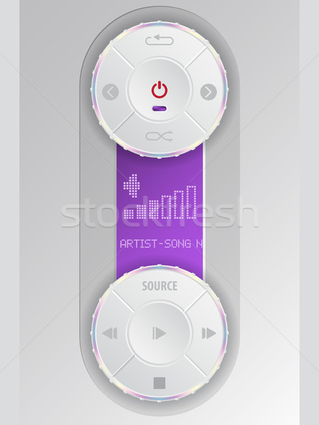 Compact audio control panel with purple lcd Stock photo © vipervxw