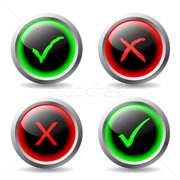 Tick and cross buttons  Stock photo © vipervxw