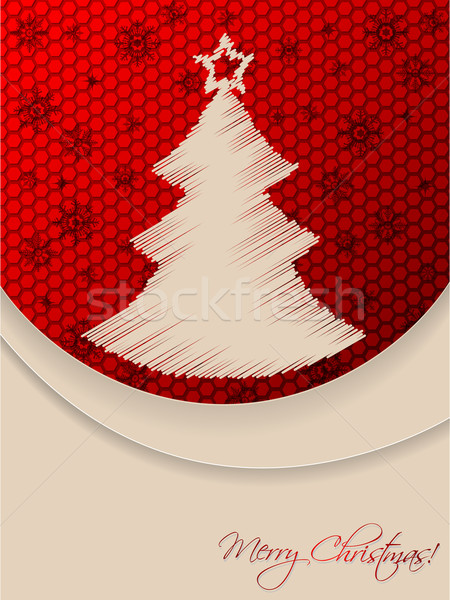 Red christmas greeting card with scribbled tree and hexagon back Stock photo © vipervxw