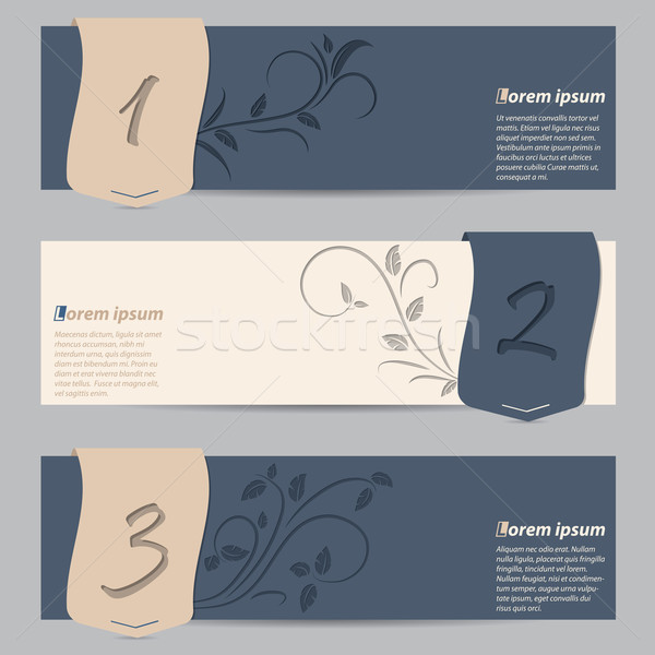 Cool slate blue banners with ribbons and floral elements Stock photo © vipervxw