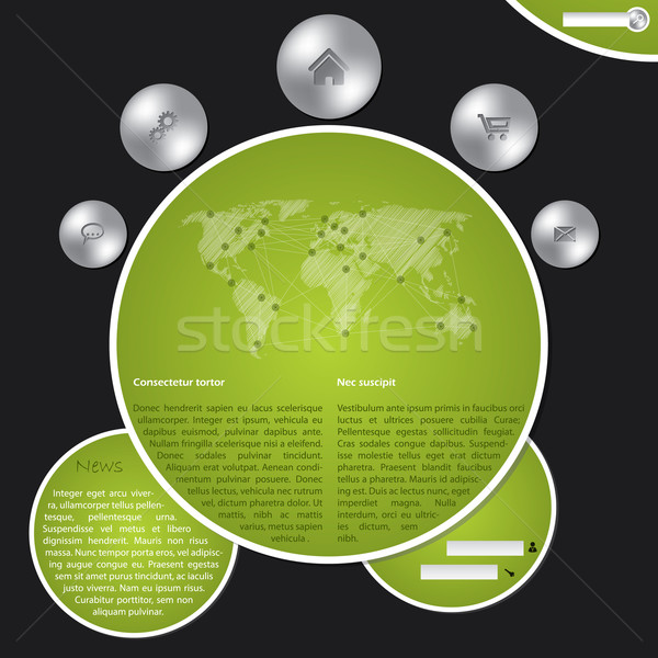 Website template with metallic buttons and world map Stock photo © vipervxw