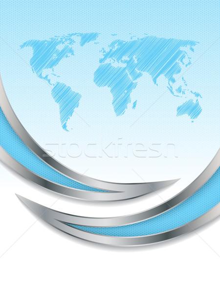 Hatszög brosúra terv világtérkép fémes elemek Stock fotó © vipervxw