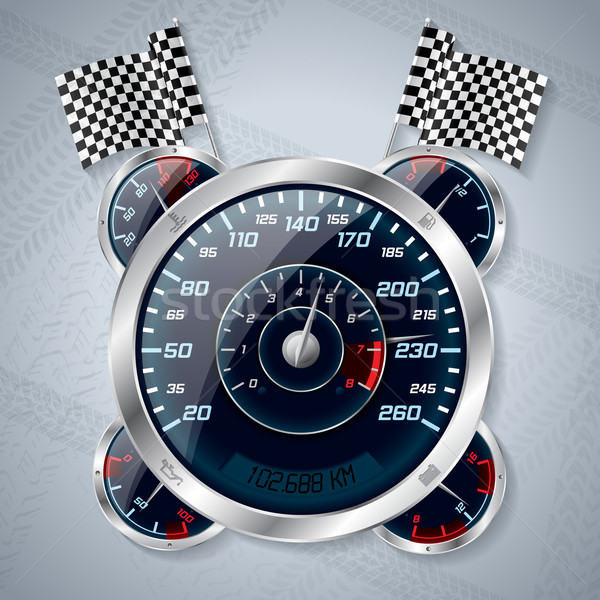 Speedometer with rev counter and race flags Stock photo © vipervxw
