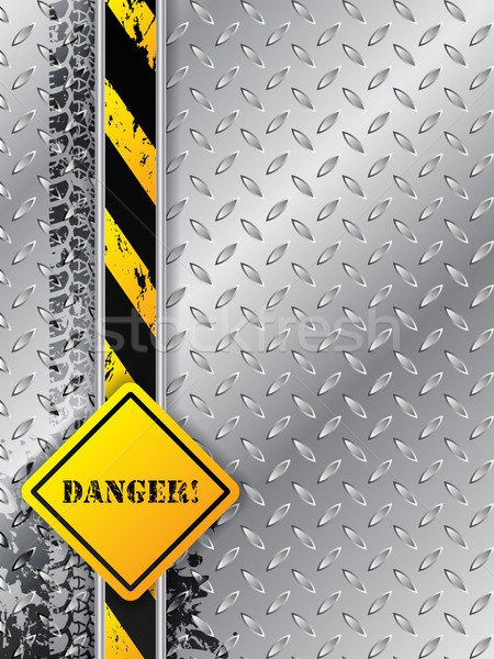 Abstract industrial background with tire tracks with danger text Stock photo © vipervxw