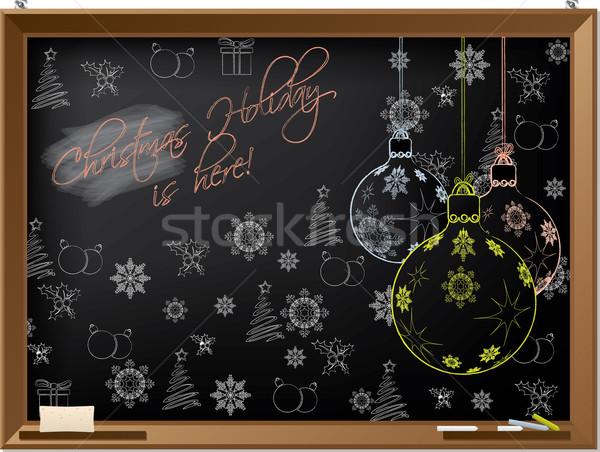 Noël vacances tableau noir design arbre main Photo stock © vipervxw