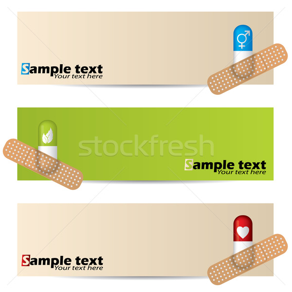 Medical banner set with plastered capsules Stock photo © vipervxw