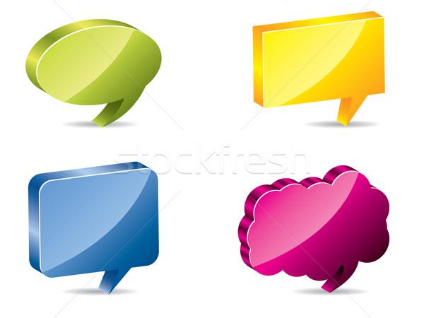Különböző színes 3D szövegbuborékok fehér árnyékok Stock fotó © vipervxw