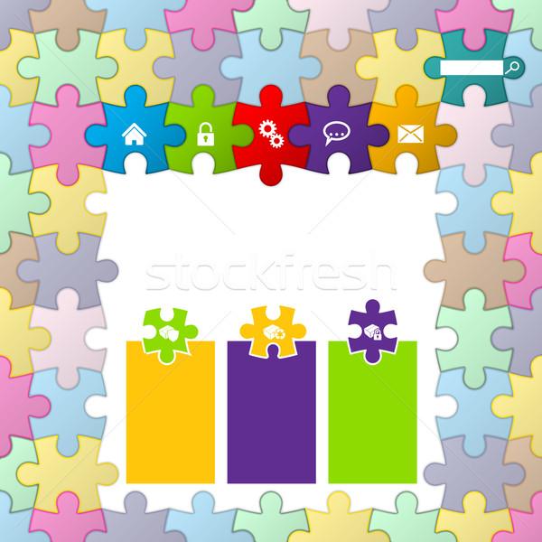 Puzzle theme website template design Stock photo © vipervxw