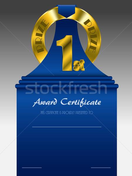 Első hely arany díj díj bizonyítvány kék Stock fotó © vipervxw