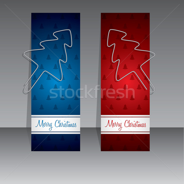 Christmas shopping labels with binder clip christmas trees Stock photo © vipervxw