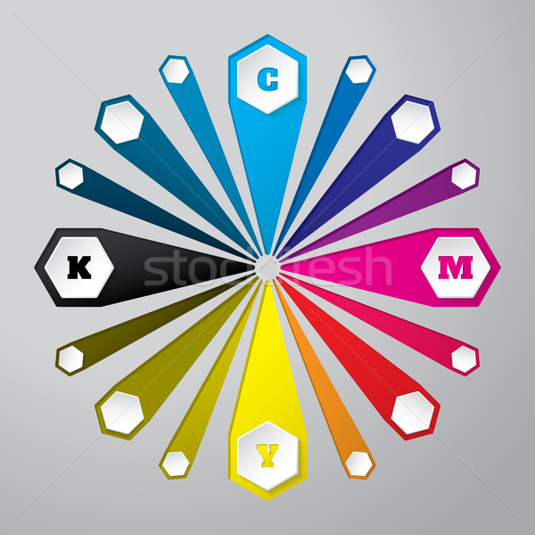 Cmyk wallpaper with 3d hexagons and color combinations Stock photo © vipervxw