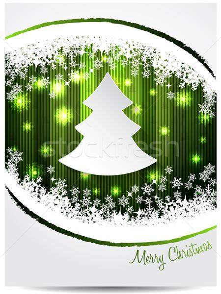 Vert blanche Noël carte de vœux design arbre de noël Photo stock © vipervxw