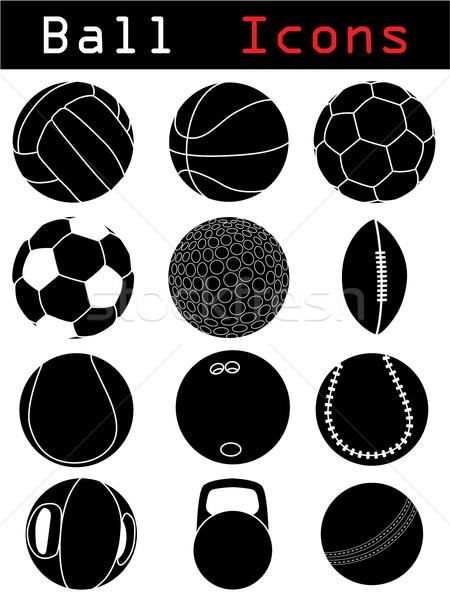 Balle icônes golf sport tennis Photo stock © vipervxw