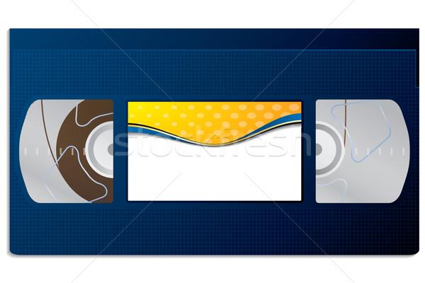 Klasszikus kék videomagnó szalag szín címke Stock fotó © vipervxw