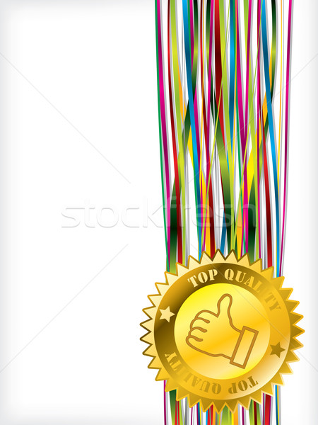 Top quality badge on color ribbons Stock photo © vipervxw