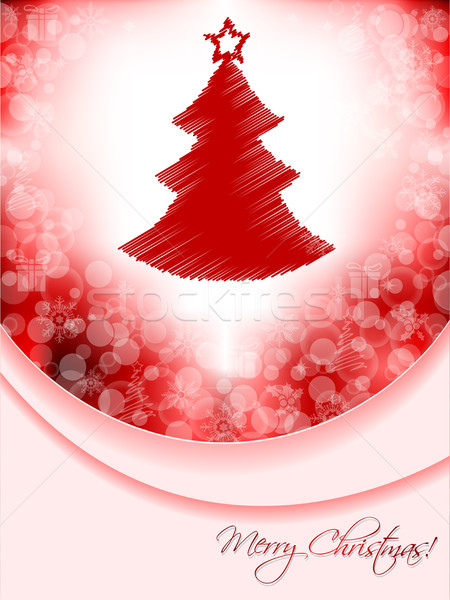Red christmas greeting card with scribbled tree and bubble backg Stock photo © vipervxw