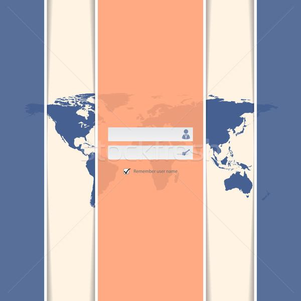Stílusos csíkos bejelentkezés képernyő világtérkép internet Stock fotó © vipervxw