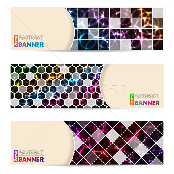 Cool banner set abstract laser plasma Foto d'archivio © vipervxw